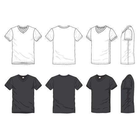 Voor-, achter-en zijkant uitzicht op blanco t-shirt