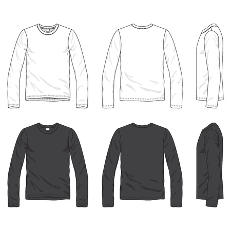 Front, back and side views of blank tee Vector