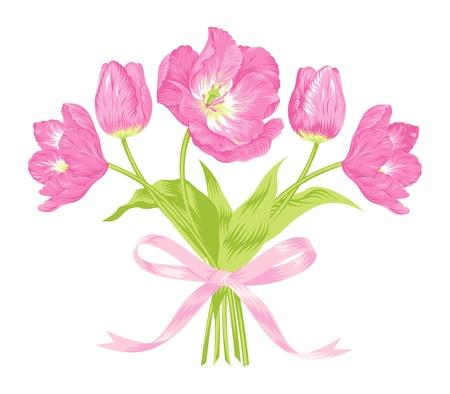 美しいピンクのチューリップの花束のベクトル イラスト