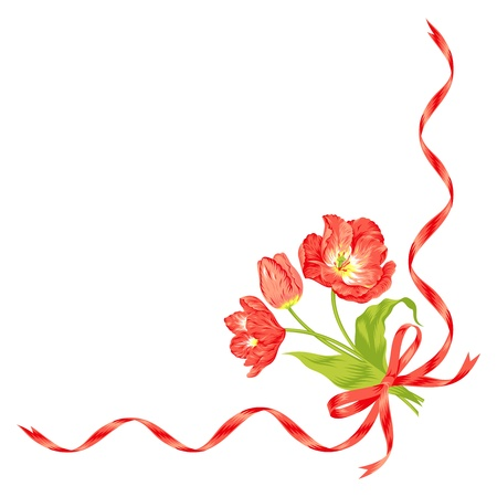 marriage bed: Vector illustration of beautiful red tulips bouquet