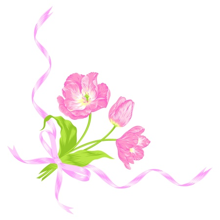 Vector illustration of beautiful pink tulips bouquet