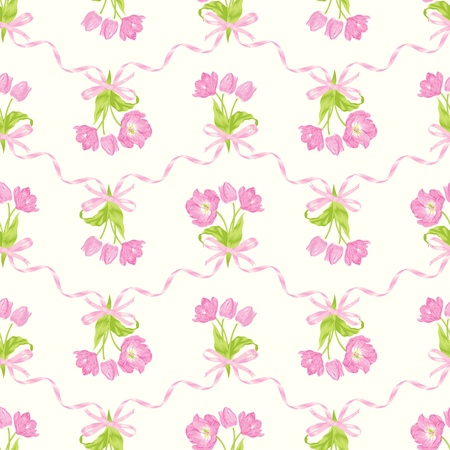 romance bed: Vector illustration of seamless pattern with beautiful pink tulips