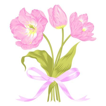 Ilustraci�n vectorial de hermoso ramo tulipanes de color rosa