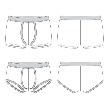 briefs: Front and back views of men Illustration