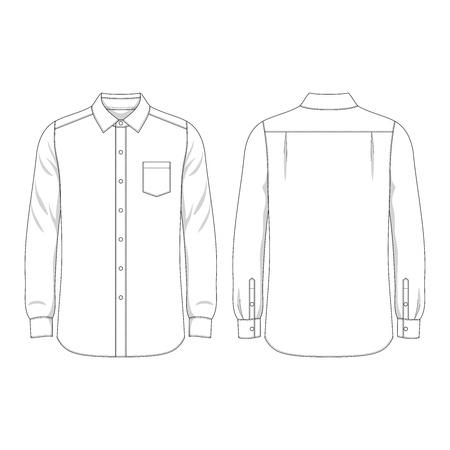 長袖シャツの簡易外形  イラスト・ベクター素材