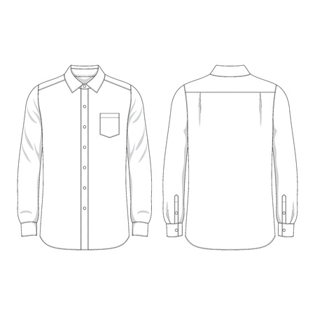 tee shirt template: Simple outline drawing of a long sleeves shirt