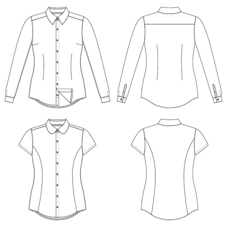 sleeves: illustration of front and back views of womens shirts Illustration