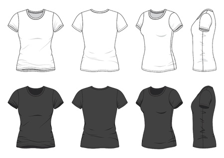 short sleeved: Front, back and side views of blank t-shirt