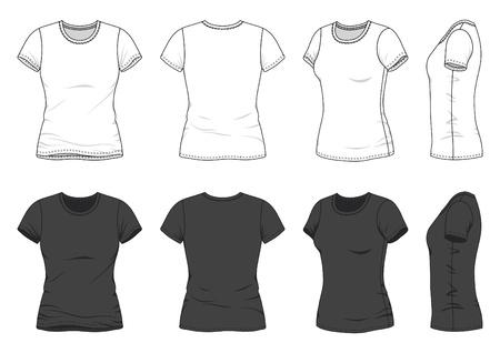 Frontal, posterior y lateral de la camiseta en blanco