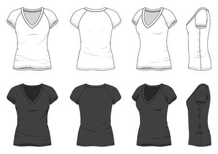 v neck: Front, back and side views of blank t-shirt