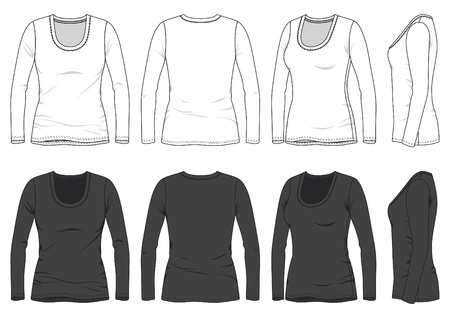 Front, back and side views of blank tee Stock Vector - 18569469