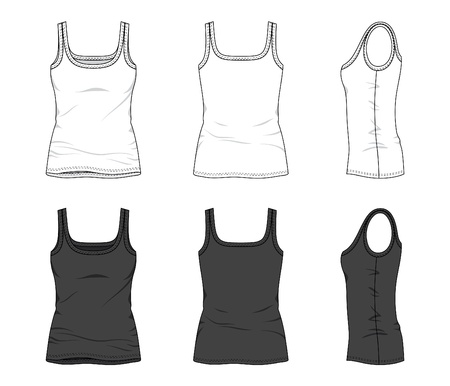 tank: Front, back and side views of blank top