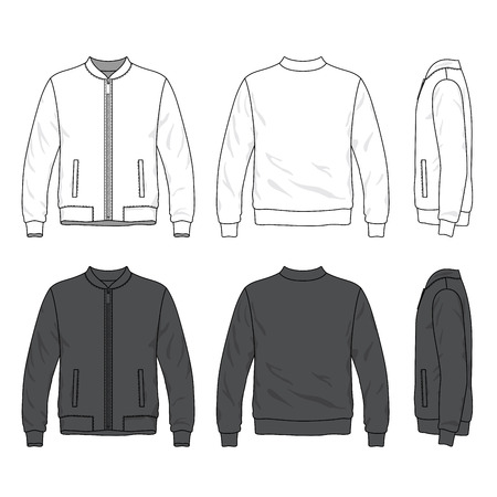 jacket: Front, back and side views of blank bomber jacket with zipper