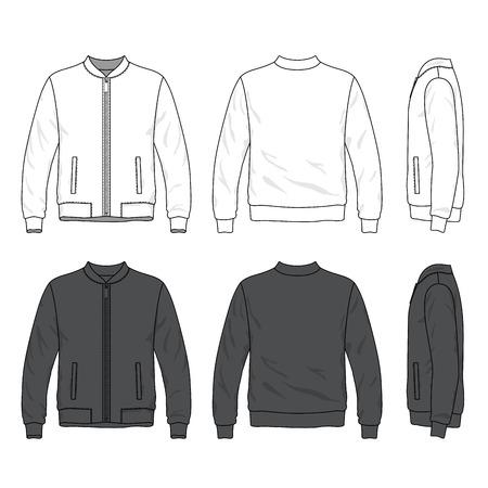 sudadera: Parte delantera, trasera y lateral de la chaqueta de bombardero en blanco con cremallera