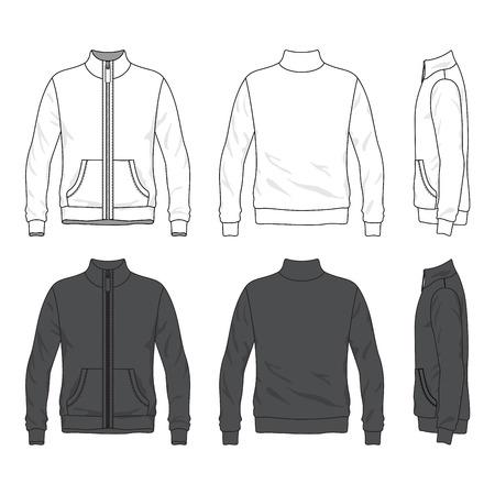 Blanco Mannen s jas met rits aan de voorkant, achterkant en zijaanzichten Windbreaker met opstaande kraag Geïsoleerd op wit