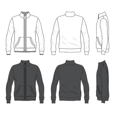 sleeved: Blank Men s jacket with zipper in front, back and side views  Windbreaker with stand collar  Isolated on white