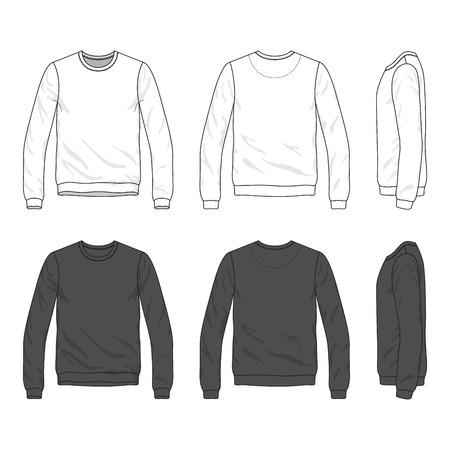 空白男性 s スウェット シャツの前面、背面と側面ビュー