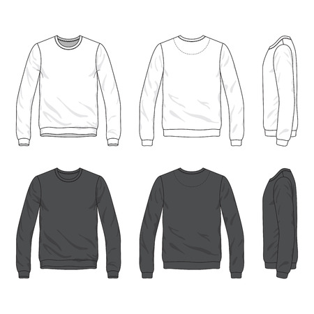 long sleeve: Blank Men s sweatshirt in front, back and side views