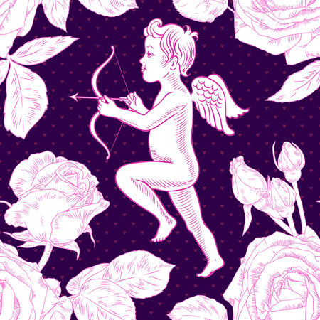 Little cupid among the roses  Vector illustration  Seamless pattern can be used for cards, textile, wallpapers  Vector