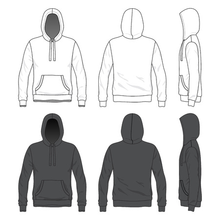 cowl: Blank Men s hoodie in front, back and side views