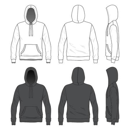 Leeg Men s hoodie aan de voorkant, achterkant en zijaanzichten