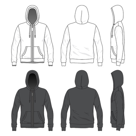 cowl: Blank MenBlank Men s hoodie with zipper in front, back and side views Illustration