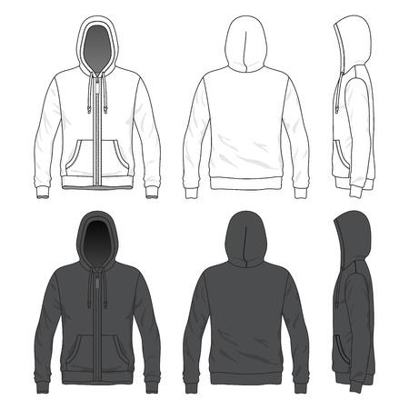 sweatshirt: Hoodie blanco MenBlank hombres s con cremallera en frente, atr�s y lateral