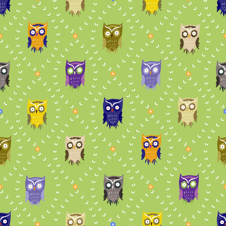 Seamless background with funny owls