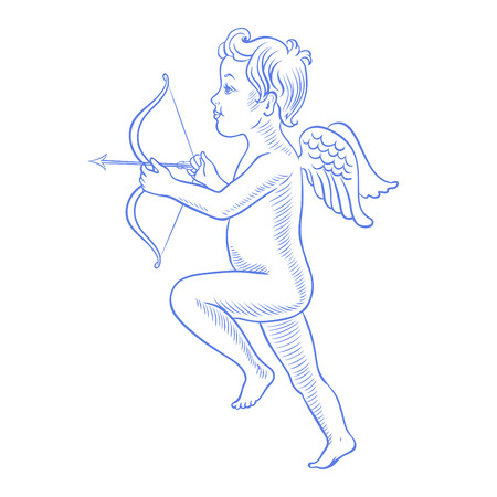 eros: Little angel with arrow  Vector illustration  Isolated on white  Illustration