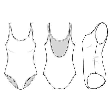 Blank swimsuit in front, back and side views. Isolated on white. Illustration