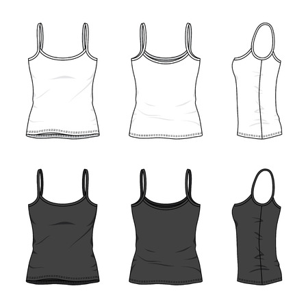 Blank women's tank top in front, back and side views. Vector illustration. Isolated on white.