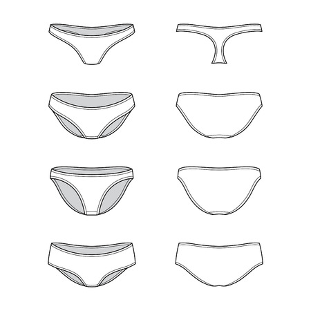 knickers: Blank womens underpants set in front, back and side views. Vector illustration. Isolated on white.