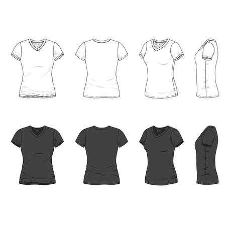 Parte delantera, trasera y lateral de blanco v-cuello de la camiseta de las mujeres. Ilustraci�n del vector. Aislado en blanco.