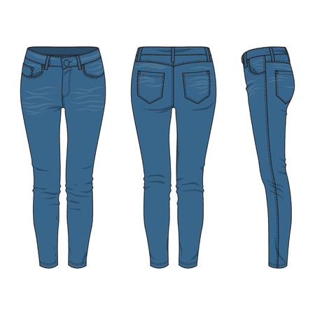 Front, back and side views of blank womens jeans. Vector illustration. Isolated on white. Ilustração