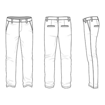 chinos: Blank mens trousers in front, back and side views. Vector illustration. Isolated on white.