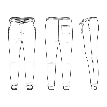 Blank men's sweatpants in front, back and side views. Vector illustration. Isolated on white.