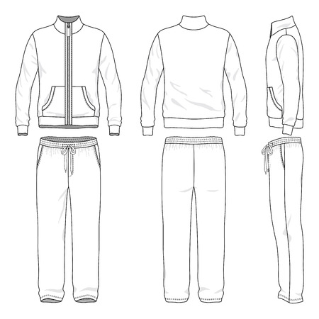 garments: Blank mens track suit in front, back and side views. Vector illustration. Isolated on white.