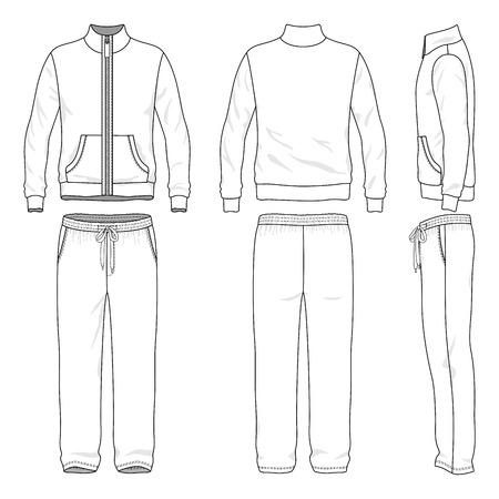 sudadera: Juego de pista de los hombres en blanco delante, atr�s y lateral. Ilustraci�n del vector. Aislado en blanco.