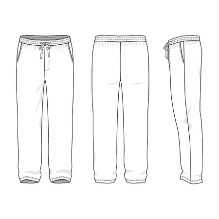 Blank mens sweatpants in front, back and side views. Vector illustration. Isolated on white. Illustration