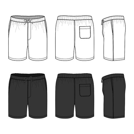 Blank mens swimwear set in front, back and side views. Vector illustration. Isolated on white.