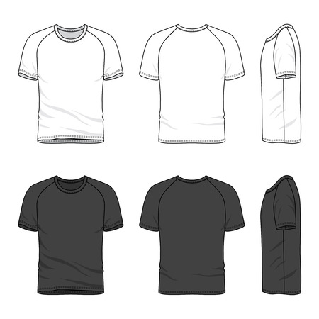layout template: Blank mens raglan sleeve t-shirt in front, back and side views. Vector illustration. Isolated on white.