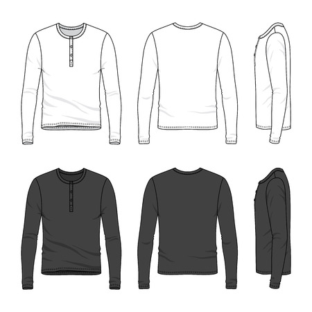 long sleeve: Blank Mens long sleeve top in front, back and side views. Top neck with button placket. Vector illustration. Isolated on white.