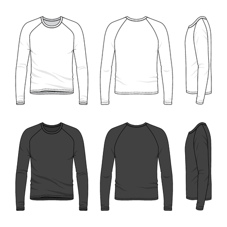 Blank mens raglan sleeve top in front, back and side views. Vector illustration. Isolated on white.
