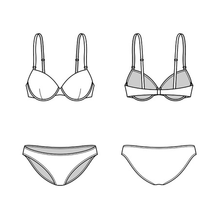 nightwear: Blank womens lingerie set in front and back views. Vector illustration. Isolated on white.