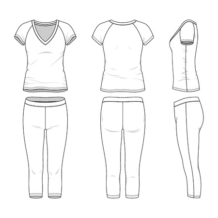 sleeved: Blank female active wear in front, back and side views. Vector illustration. Isolated on white.