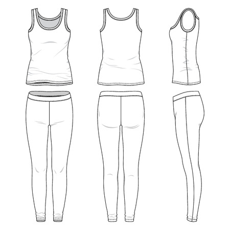 Blank female active wear in front, back and side views. Vector illustration. Isolated on white.