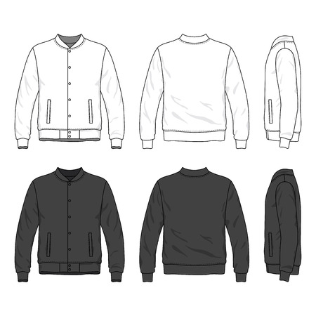 sleeved: Blank male bomber jacket with buttons in front, back and side views. Isolated on white.