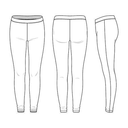 Blank female leggings in front, back and side views. Vector illustration. Isolated on white. Stock Illustratie