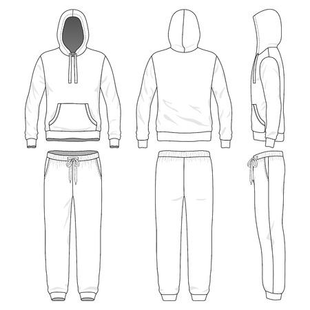 Blanco mannelijke zweet pak in de voorkant, achterkant en zijaanzichten. Vector illustratie. Geïsoleerd op wit.