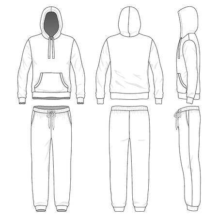 Blank male sweat suit in front, back and side views. Vector illustration. Isolated on white. Vettoriali